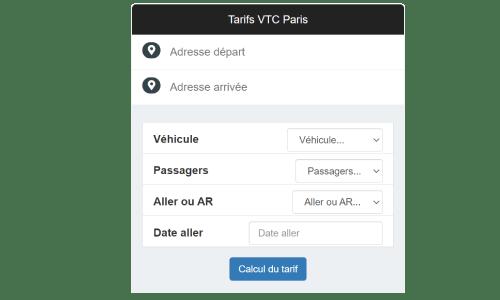 Prix en ligne Reserver Paris VTC